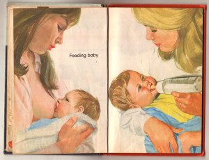 Children's Book Depicting Breastfeeding and Bottle Feeding